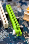 Green AGP slot on motherboard. — Stock Photo