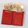 Stock Photo: Red wallet with euro notes