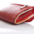 Red wallet with euro notes — Stock Photo