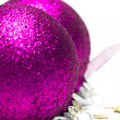 Pink Christmas decoration balls — Stock Photo