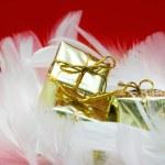 Golden gift boxes — Stock Photo