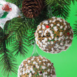 Christmas decoration on a fir-tree — 图库照片