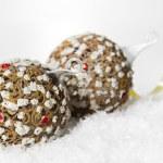 Festive decoration on white snow — Stock Photo