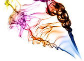 Coloured smoke on white background — Stock Photo