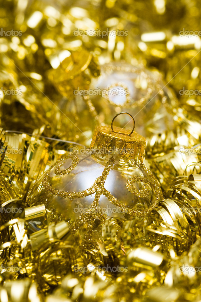 Golden Christmas decoration ball with garland  Stock Photo #1403290