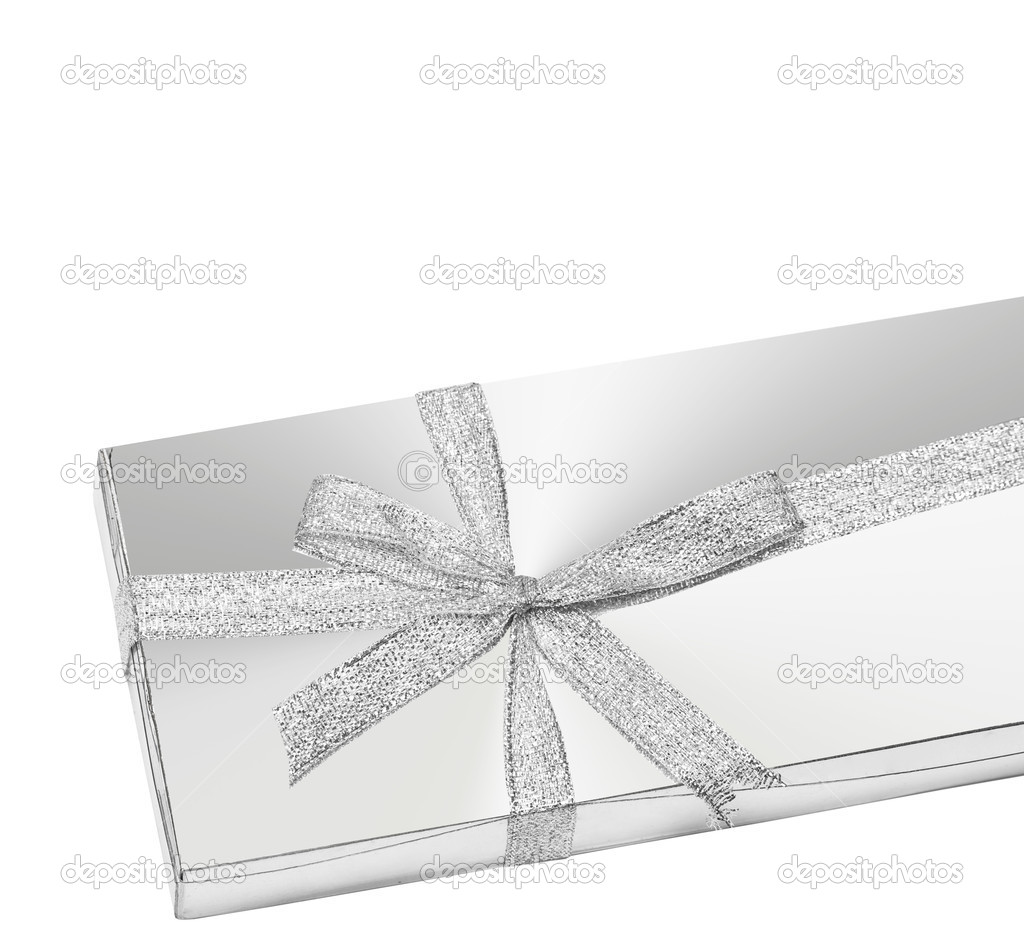Silver gift box with ribbon — Stock Photo #1403914