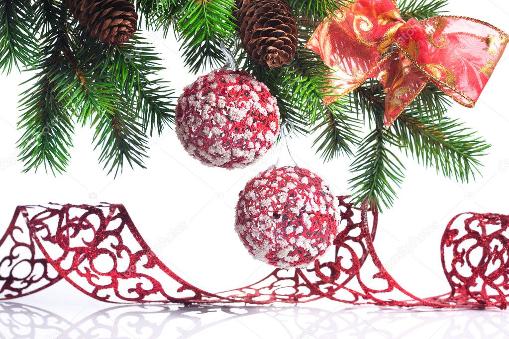 Christmas decoration on a fir-tree  Stock Photo #1405066