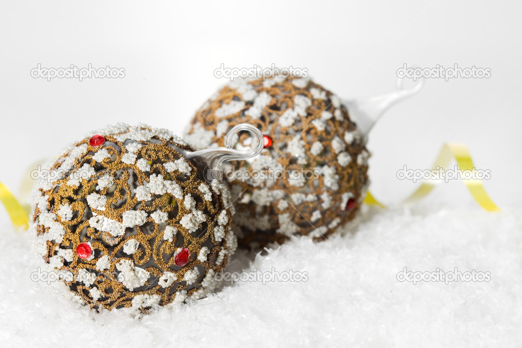 Festive decoration on white snow  Stock Photo #1406384