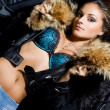 Beautiful fashionable woman with fur — ストック写真