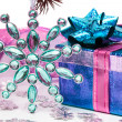 Blue gift box with Christmas star — Stock Photo
