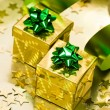 Golden gift box with ribbon — Foto Stock
