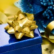 Gift box with flower poinsettia — Stockfoto