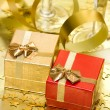 Gift boxes with golden ribbon — Zdjęcie stockowe