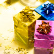 Gift boxes with gold ribbon — 图库照片