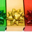 Varicoloured gift boxes with bow — 图库照片