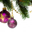 Christmas decoration on a fir-tree - Stock Photo