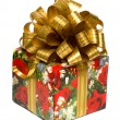 Gift box with golden bow — 图库照片
