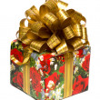 Gift box with golden bow — Stockfoto