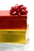 Varicoloured gift boxes with bow — Stock Photo