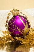 Magenta ball with Christmas tree — Stock Photo