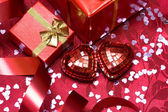 Gift box with red heart — Stock Photo