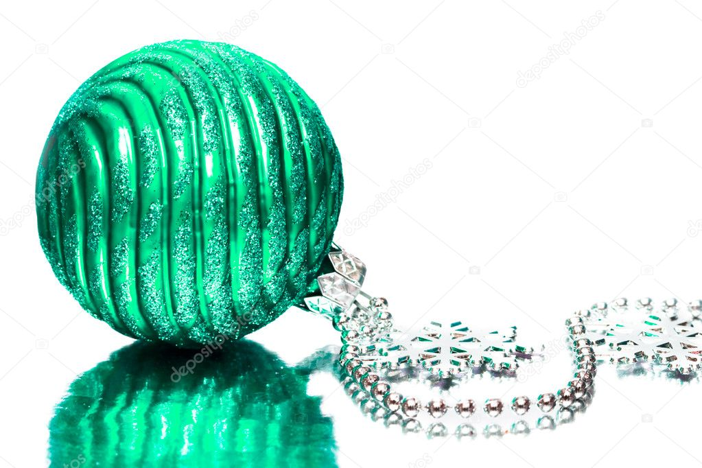 Green festive decoration on silver background  — Stock Photo #1424184
