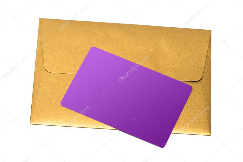 Envelope with congratulatory card isolated on white background  — Stock Photo #1424261