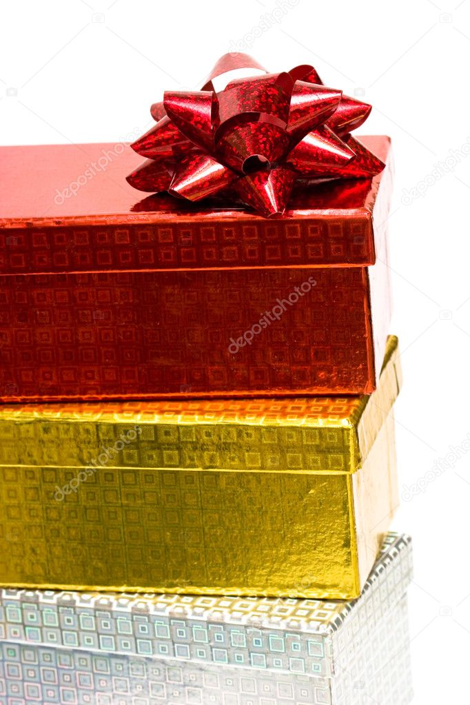 Varicoloured gift boxes with bow  — Stock Photo #1424634