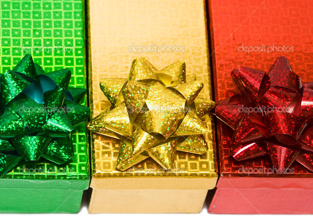 Varicoloured gift boxes with bow  — Stock Photo #1424639
