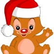 Christmas Waving teddy bear — Stock Vector