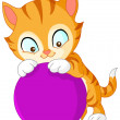 Stock Vector: Kitten with ball