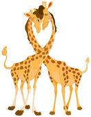 Giraffes in love — Stock Vector
