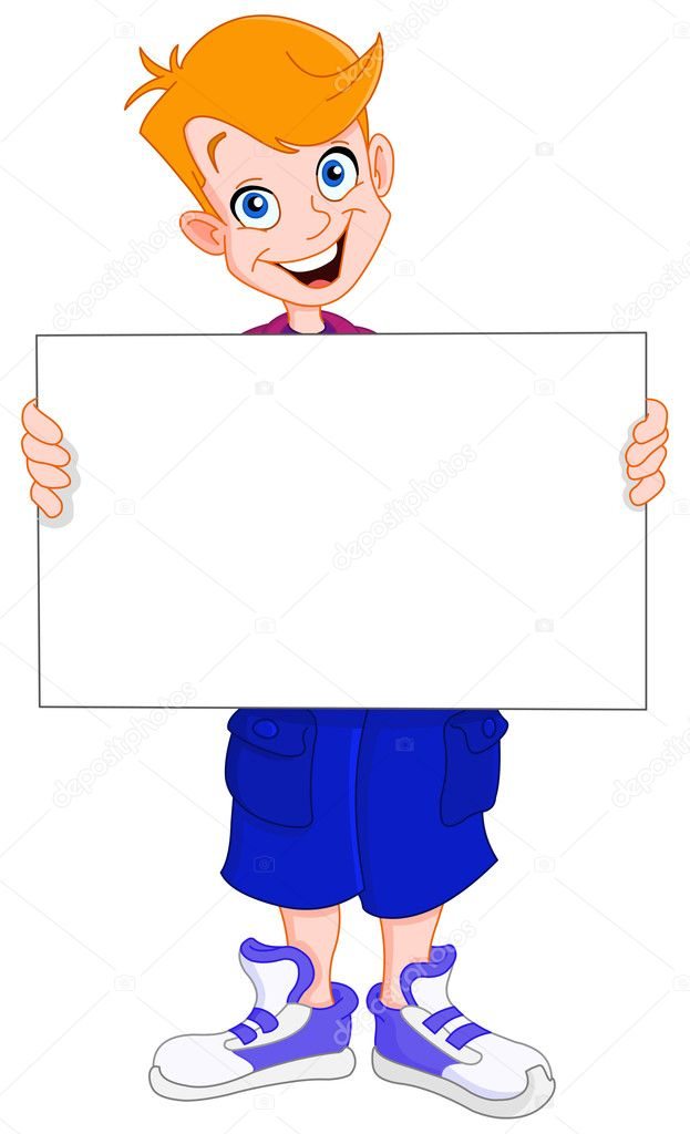Smiley redhead kid holding a blank sign — Stock Vector #1398067
