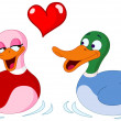 In love ducks - Stock Vector