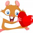 Stock Vector: Cute hamster valentine