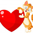 Cat holding heart valentine — Stockvectorbeeld