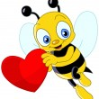 Cute bee valentine — Stockvectorbeeld