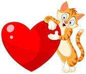 Cat holding heart valentine — Stock Vector