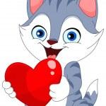Valentine cat — Stock Vector