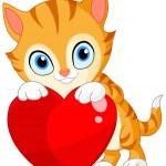 Kitten with heart valentine — Stock Vector