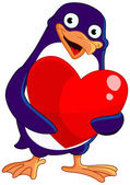 Valentine penguin — Vector de stock