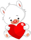 Valentine white teddy bear — Vector de stock