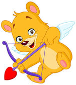 Cupid teddy bear — Stock Vector