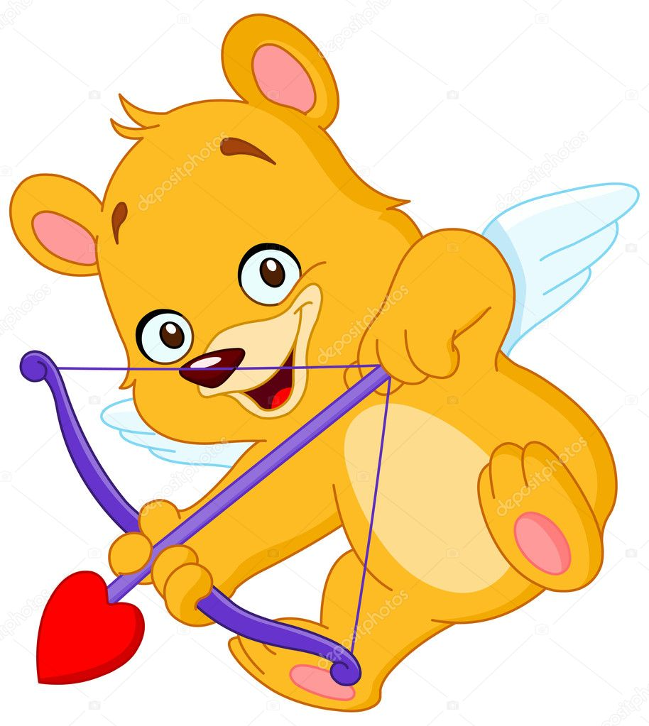 Cupid teddy bear ready to shoot his arrow  Stock Vector #1995300