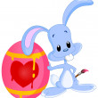 Bunny painted Easter egg — Stock Vector