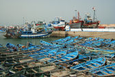 Blue boats in Essaouira port — Foto de Stock