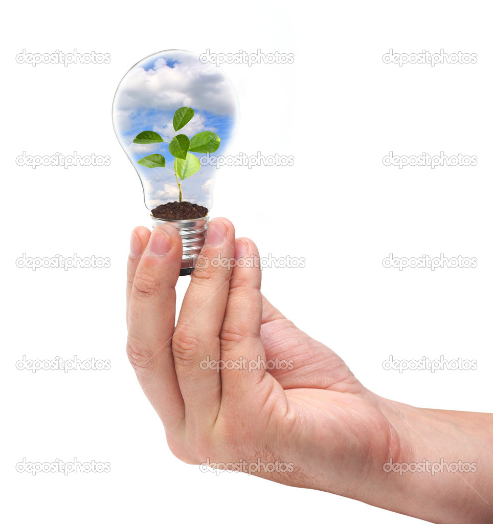 Green energy concept on white — Stock Photo #1412819