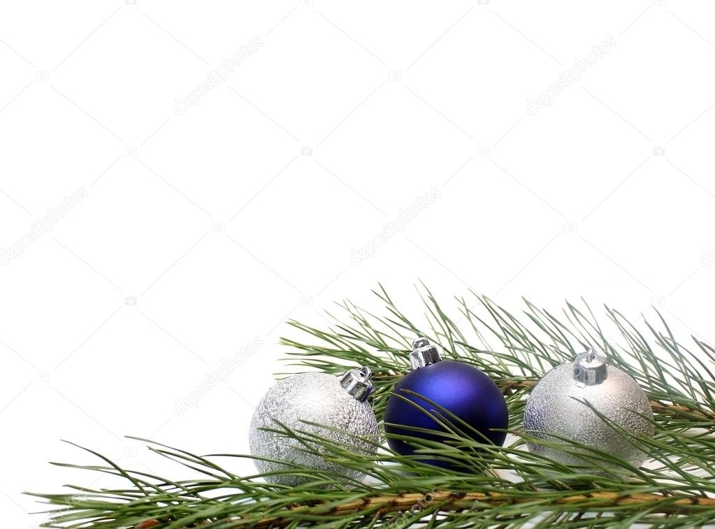 Christmas tree branch with Christmas balls on white — Stock Photo #1413176