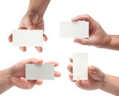 Set of cards in man's hand — Stock Photo