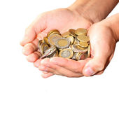 Coins in man hands — Stock Photo